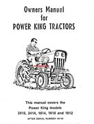 Economy Power King Tractor Operator Ownerand039s Manual 2418 2414 1618 1612 98-7104