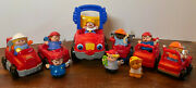 Lot Of Fisher Price Little People Construction 8 Workers And Cat Dump Truck Figure