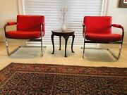 Mid Century Modern Cantilever Lounge Chairs By Milo Baughman Red - A Pair