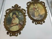 Set Of Vintage Ornate Gold Round Frames Molded With Pictures 21l 14w