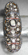 Vintage Antique Rose Cut Diamond 4.72ct Silver 925 Beautiful Knuckle Polki Ring