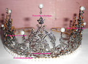 Inspired By Vintage 12.92ct Rose Cut Diamond Silver Engagement Party Pearl Tiara