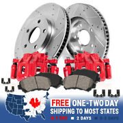 Front Red Brake Calipers And Rotors + Brake Pads For 2013 2014 Nissan Altima
