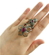1.62ct Natural Antique Rose Cut Diamond Silver 925 Ruby New Year Party Wear Ring