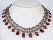 Rose Cut Diamond 6.52ct Vintage Antique Style Ruby Pearl Wedding Party Necklace