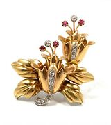 Antique Art Nouveau 18k Yellow Gold Platinum Diamond And Ruby Floral Pin Brooch