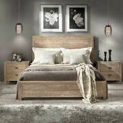 Rustic Platform Bed Frame King Size With Headboard Bedroom Solid Wood Driftwood