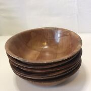 """Vintage Set Of Six Antique Wooden Bowls,4"""" Tall X6"""" Wide, Preowned"""