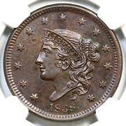 1838 N-7 Ngc Ms 63 Bn Matron Or Coronet Head Large Cent Coin 1c