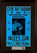 Stevie Ray Vaughan @ Gilleyand039s Framed Concert Poster Engraved Series