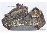 France Trench Art Ww1 Tank Renault Ft17 French Military Inkwell Desk Weight 1914