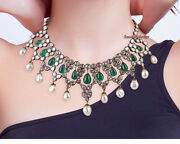 Antique Rose Cut And Polki Diamond 10.56ct Solid Silver 925 Vintage Style Necklace