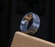 B25 Ring Rotary Ring Taoist Oracle Des I Went Yin-yang Sterling Silver 925