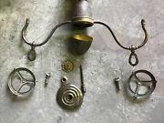 Antique Brass Hanging Parlor/oil Lamp/ Ceiling Chandelier For Repair Or Parts
