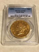 1854 Au53 Pcgs Liberty Double Eagle Type 1 20 Gold Coin Pq Great Appeal