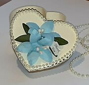 Shabby Handmade To Order Thank You,lily Flower Blue Heart Favor Boxes 20,50,100