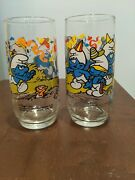 2 The Smurfs 1983 Harmony / Handy Smurf Vintage Drinking Glass Cup Hardees 12oz
