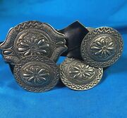 Sterling/leather Hand Tooled Navajo Concho Beltdb Artisan Stamped 528.7g Heavy