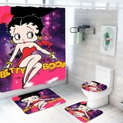 Betty Boop Bathroom Shower Curtain Toilet Seat Cover Rug Set