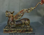 15.2 Antique Chinese Bronze Ware Dynasty Beast Handle Hand Hay Cutter Statue