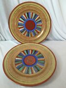 Vintage Thousand 1000 Faces Dinner Plates Made In Japan Set Of 3 Red Band