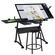 Glass Drafting Table Artists Drawing Desk Adjustable With 2 Drawers And Stool