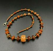 Indo Tibetan Coral And Carnelian Agate Beads Necklace From Himalaya