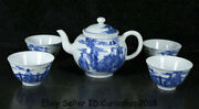 6.4 Kangxi Marked Old Blue White Porcelain People Story Handle Teapot Cup Set