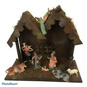 Vintage Nativity Scene Depose Italy Set Figures With Creche Stable