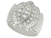 Vintage 0.65 Ct Diamond And 18 Carat White Gold Dress Ring 1950s Size Q
