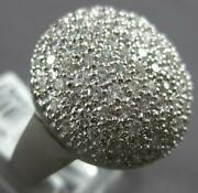 Estate Extra Large 2.07ct Diamond 18kt White Gold 3d Round Pave Cluster Fun Ring
