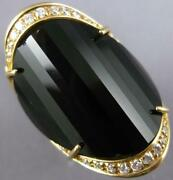 Estate Extra Large .45ct Diamond And Aaa Black Onyx 14kt Yellow Gold Oval Fun Ring
