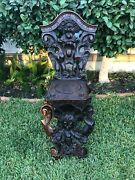 Antique Italian Carved Walnut Sgabello Chair With Man And Woman Bust Head