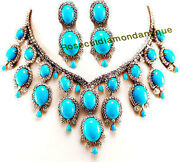 Rose Cut Diamond 16.20ct Silver Turquoise Necklace Set Xmas New Year Party Wear