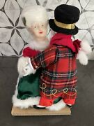 Vintage Mr. And Mrs.claus Holiday Skate Spinning Musical Collectible Christmas