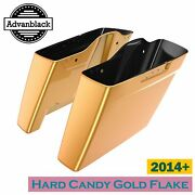 Hard Candy Gold Flake Dual Uncut Extended Stretched Saddlebag For Harley 14+