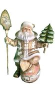 """17"""" Tall Unique Art Work Solid Wood Hand Carved Painted Russian Santa"""