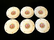Herend Porcelain Handpainted Rare Bouquet Of Flowers Dinner Plate 524/bc 6pcs.