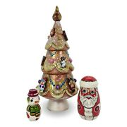 Unique Gold Christmas Tree Santa Nesting Dolls Hand Carved Hand Painted