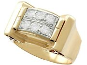 Vintage Art Deco 0.60 Ct Diamond And 18k Yellow Gold Gentand039s Ring