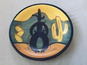Rare Martin Stangl Painted Cowboy And Cactus Ranger 6andrdquo Bread Plate 3 Of 4