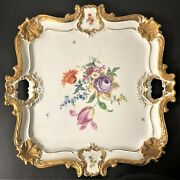 Original Large Meissen Square Heavy Gilded Floralandbutterfly-decorated Tray