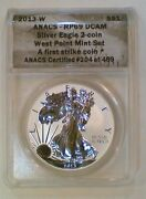 2013-w American Silver Eagle West Point Set Anacs Rp69 Dcam And Eu69 Dcam