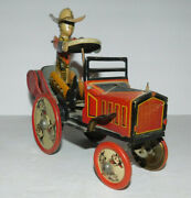 Rare Vintage Louis Marx Tin Wind Up Rodeo Whoopee Car