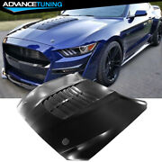 Fits 15-17 Ford Mustang Gt500 Style Air Vent Aluminum Hood - Unpainted Black