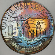 1986-s Statue Of Liberty Half Dolor 50 Cents Proof Wonderful Color Toned Appeal