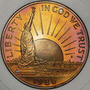 1986-s Statue Of Liberty Half Dolor 50 Cents Amazing Proof Color Toned Coin