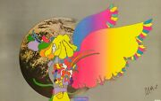Rare Peter Max Man On Moon Original Vintage Lithograph On Paper Hand Signed Coa