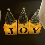 Christmas Joy Block Decorated Trees By Valerie