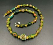 Old Ancient Antique Glass Beads From Ancient Roman's With Gold Beads